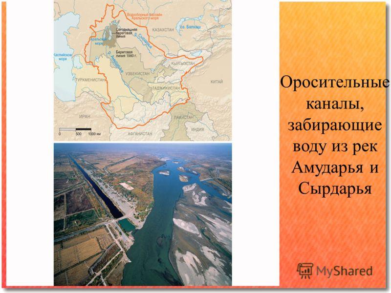 Оросительные каналы, забирающие воду из рек Амударья и Сырдарья