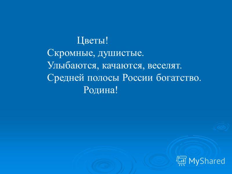 Цветы! Скромные, душистые. Улыбаются, качаются, веселят. Средней полосы России богатство. Родина!
