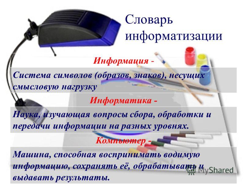 Словарь информатизации Информация - Система символов (образов, знаков), несущих смысловую нагрузку Информатика - Наука, изучающая вопросы сбора, обработки и передачи информации на разных уровнях. Компьютер - Машина, способная воспринимать водимую инф