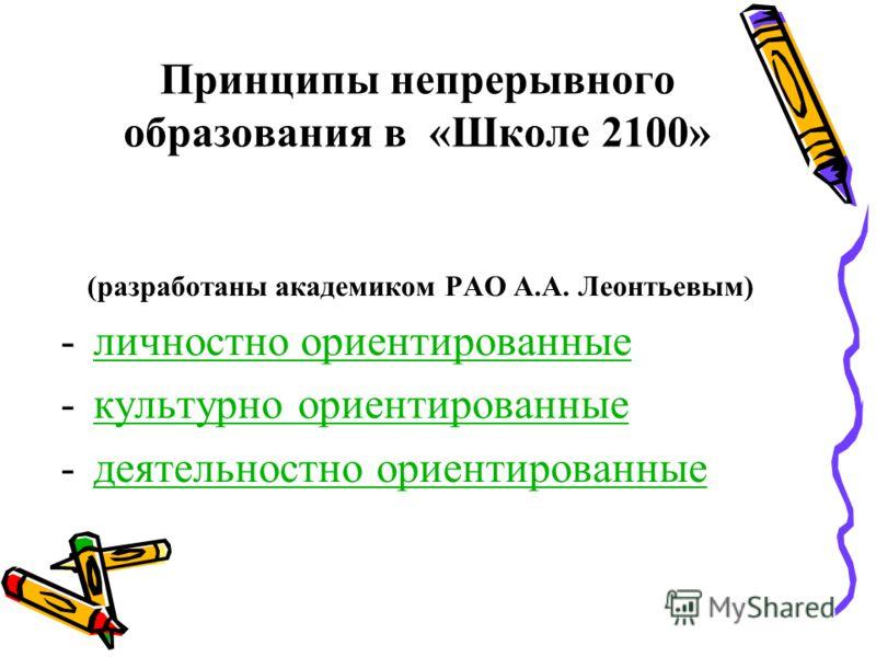 Принципы непрерывного образования в «Школе 2100» (разработаны академиком РАО А.А. Леонтьевым) -личностно ориентированныеличностно ориентированные -культурно ориентированныекультурно ориентированные -деятельностно ориентированныедеятельностно ориентир