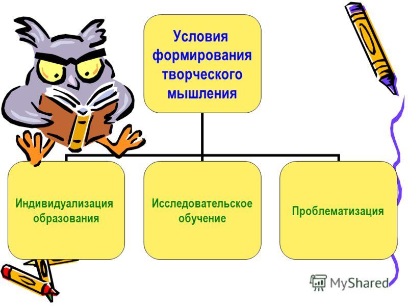 Условия формирования творческого мышления Индивидуализация образования Исследовательское обучение Проблематизация