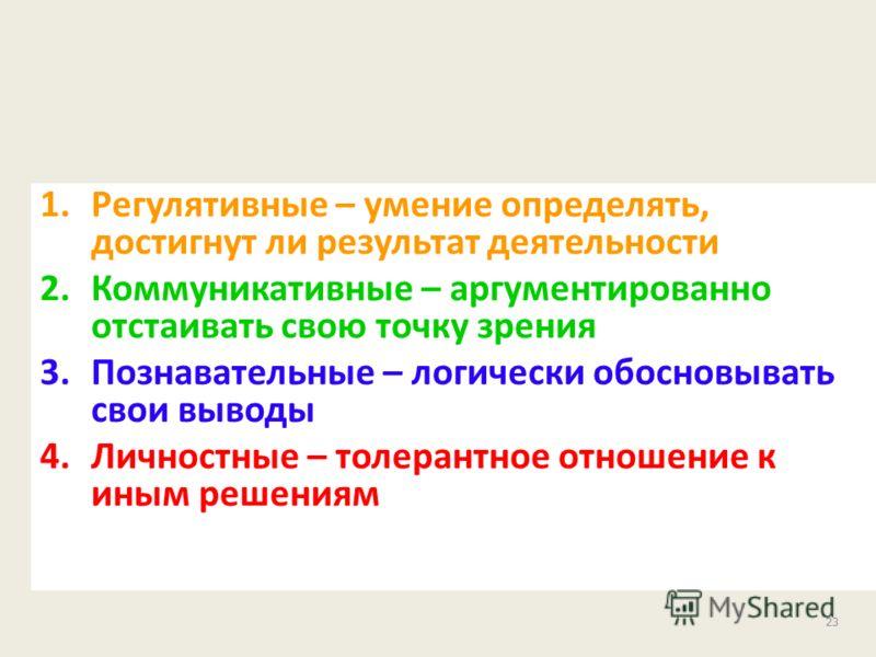 23 1.Регулятивные – умение определять, достигнут ли результат деятельности 2.Коммуникативные – аргументированно отстаивать свою точку зрения 3.Познавательные – логически обосновывать свои выводы 4.Личностные – толерантное отношение к иным решениям