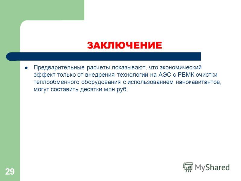 ЗАКЛЮЧЕНИЕ Предварительные расчеты показывают, что экономический эффект только от внедрения технологии на АЭС с РБМК очистки теплообменного оборудования с использованием нанокавитантов, могут составить десятки млн руб. 29