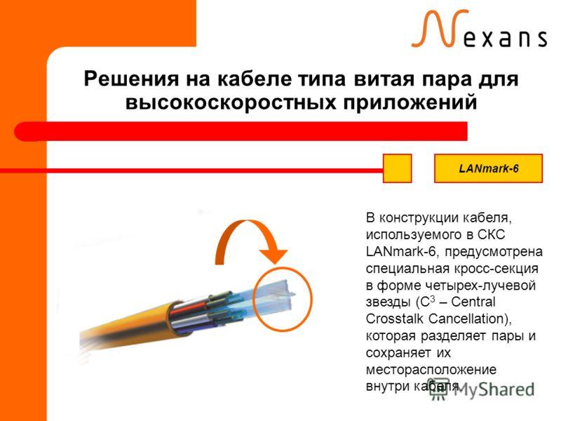 Решения на кабеле типа витая пара для высокоскоростных приложений В конструкции кабеля, используемого в СКС LANmark-6, предусмотрена специальная кросс-секция в форме четырех-лучевой звезды (С 3 – Central Crosstalk Cancellation), которая разделяет пар