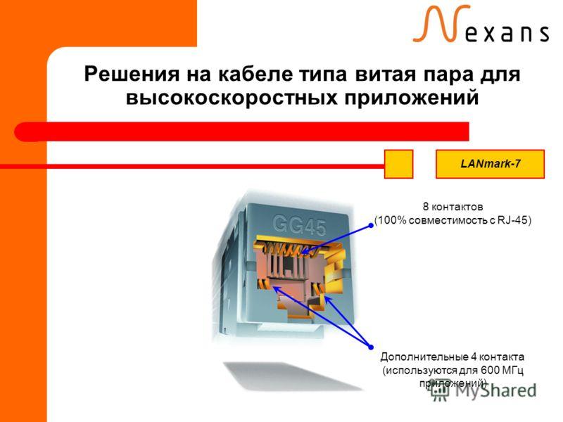 Решения на кабеле типа витая пара для высокоскоростных приложений 8 контактов (100% совместимость с RJ-45) Дополнительные 4 контакта (используются для 600 МГц приложений) LANmark-7