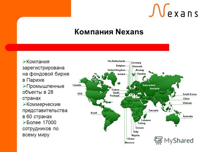 Компания Nexans Компания зарегистрирована на фондовой бирже в Париже Промышленные объекты в 28 странах Коммерческие представительства в 60 странах Более 17000 сотрудников по всему миру