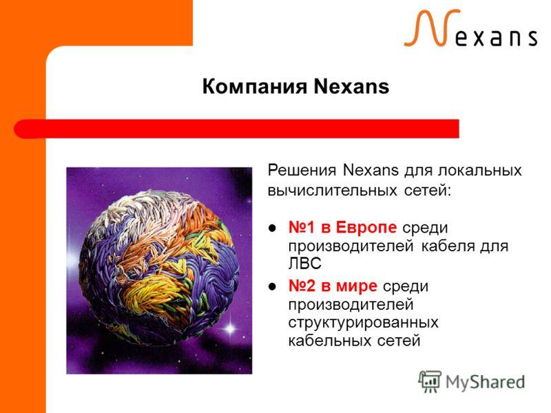 Компания Nexans 1 в Европе среди производителей кабеля для ЛВС 2 в мире среди производителей структурированных кабельных сетей Решения Nexans для локальных вычислительных сетей: