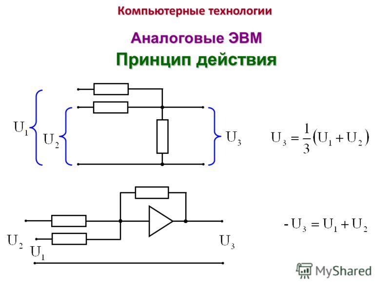 Компьютерные технологии Аналоговые ЭВМ Принцип действия