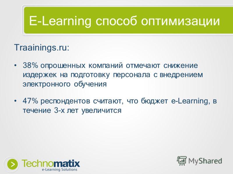 E-Learning способ оптимизации Traainings.ru: 38% опрошенных компаний отмечают снижение издержек на подготовку персонала с внедрением электронного обучения 47% респондентов считают, что бюджет e-Learning, в течение 3-х лет увеличится