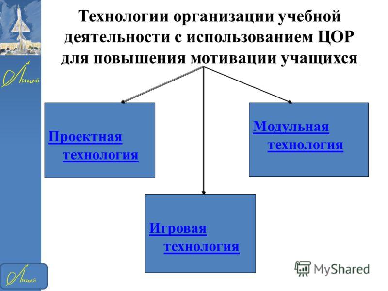 Технологии организации учебной деятельности с использованием ЦОР для повышения мотивации учащихся Проектная технология Модульная технология Игровая технология