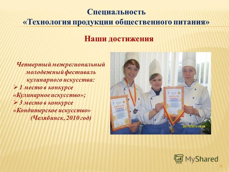 Четвертый межрегиональный молодежный фестиваль кулинарного искусства: 1 место в конкурсе «Кулинарное искусство»; 3 место в конкурсе «Кондитерское искусство» (Челябинск, 2010 год) 14 Специальность «Технология продукции общественного питания»