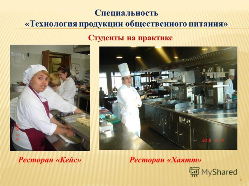 Специальность «Технология продукции общественного питания» Студенты на практике 8 Ресторан «Кейс»Ресторан «Хаятт»