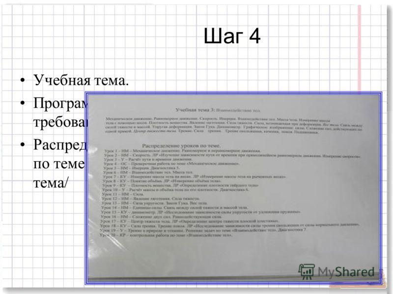 Шаг 4 Учебная тема. Программные требования Распределение уроков по теме /номер, тип, тема/