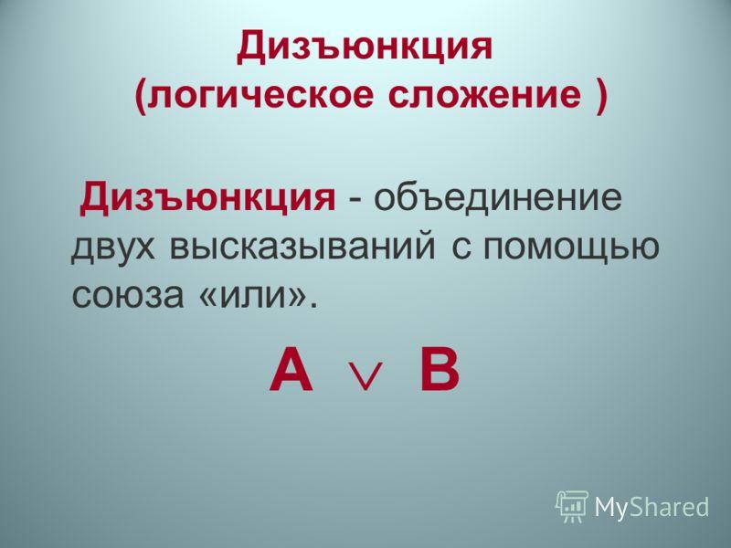 Дизъюнкция (логическое сложение ) Дизъюнкция - объединение двух высказываний с помощью союза «или». А B