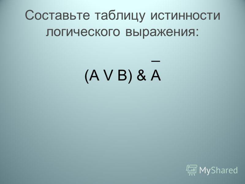 Составьте таблицу истинности логического выражения: _ (A V B) & A