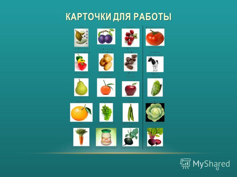 КАРТОЧКИ ДЛЯ РАБОТЫ 12