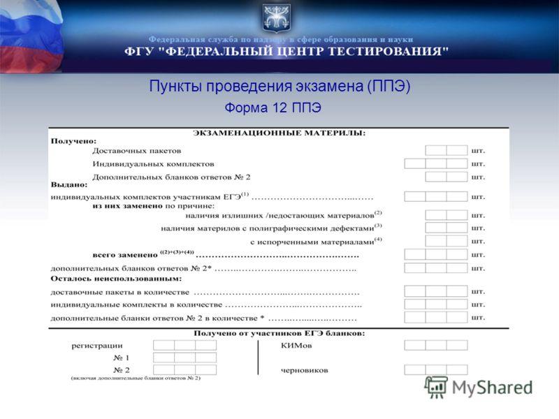 Форма 12 ППЭ Пункты проведения экзамена (ППЭ)