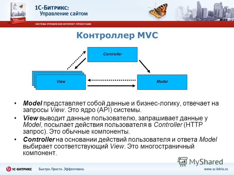 Контроллер MVC Model представляет собой данные и бизнес-логику, отвечает на запросы View. Это ядро (API) системы. View выводит данные пользователю, запрашивает данные у Model, посылает действия пользователя в Controller (HTTP запрос). Это обычные ком