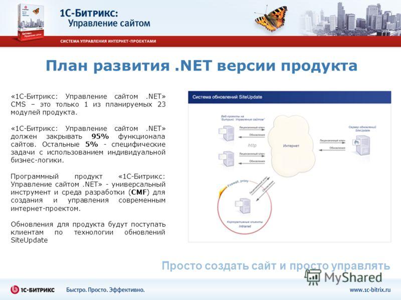 План развития.NET версии продукта «1С-Битрикс: Управление сайтом.NET» CMS – это только 1 из планируемых 23 модулей продукта. «1С-Битрикс: Управление сайтом.NET» должен закрывать 95% функционала сайтов. Остальные 5% - специфические задачи с использова