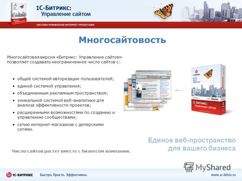 Многосайтовость Единое веб-пространство для вашего бизнеса Многосайтовая версия «Битрикс: Управление сайтом» позволяет создавать неограниченное число сайтов с: Число сайтов растет вместе с бизнесом компании. общей системой авторизации пользователей;