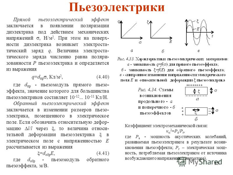 55 Пьезоэлектрики Прямой пьезоэлектрический эффект заключается в появлении поляризации диэлектрика под действием механических напряжений, H/м 2. При этом на поверх- ности диэлектрика возникает электроста- тический заряд q. Величина электроста- тическ