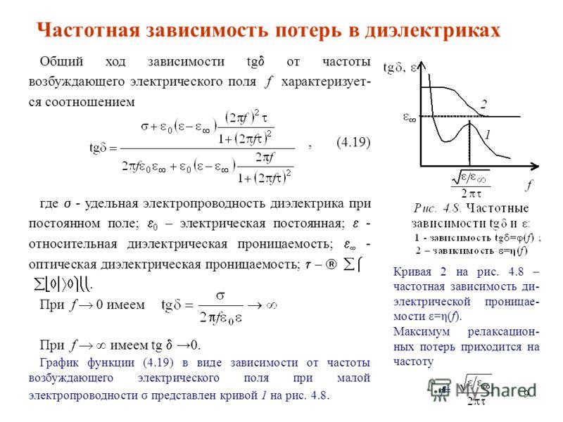 9 Кривая 2 на рис. 4.8 – частотная зависимость ди- электрической проницае- мости ε=η(f). Максимум релаксацион- ных потерь приходится на частоту f= Общий ход зависимости tg от частоты возбуждающего электрического поля f характеризует- ся соотношением,