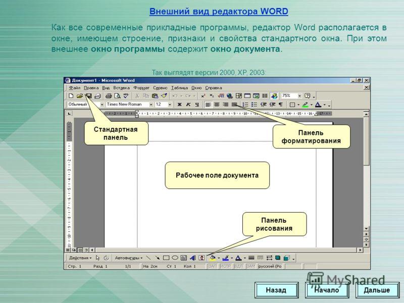 Внешний вид редактора WORD Как все современные прикладные программы, редактор Word располагается в окне, имеющем строение, признаки и свойства стандартного окна. При этом внешнее окно программы содержит окно документа. Стандартная панель Панель форма