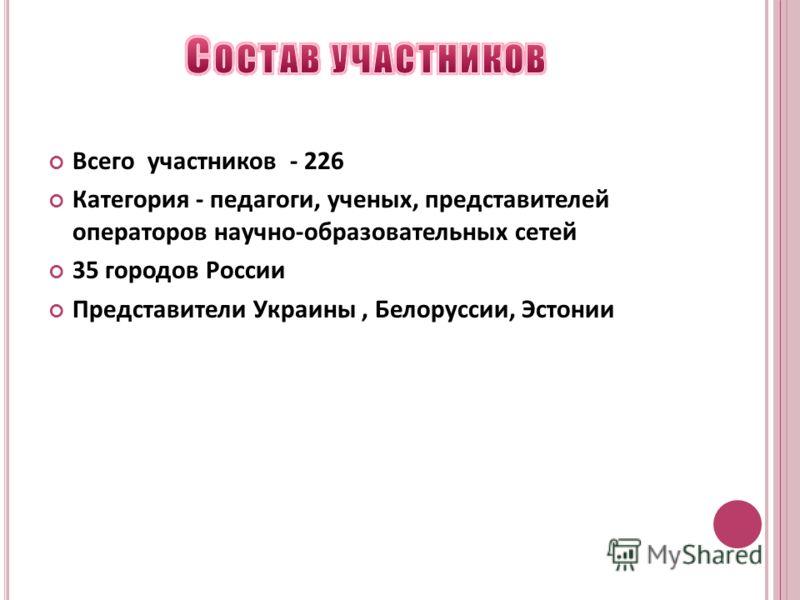 Всего участников - 226 Категория - педагоги, ученых, представителей операторов научно-образовательных сетей 35 городов России Представители Украины, Белоруссии, Эстонии
