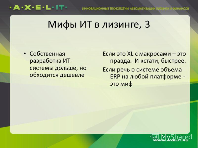 Мифы ИТ в лизинге, 3 Собственная разработка ИТ- системы дольше, но обходится дешевле Если это XL с макросами – это правда. И кстати, быстрее. Если речь о системе объема ERP на любой платформе - это миф
