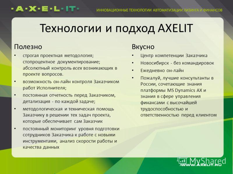 Технологии и подход AXELIT Полезно строгая проектная методология; стопроцентное документирование; абсолютный контроль всех возникающих в проекте вопросов. возможность он-лайн контроля Заказчиком работ Исполнителя; постоянная отчетность перед Заказчик