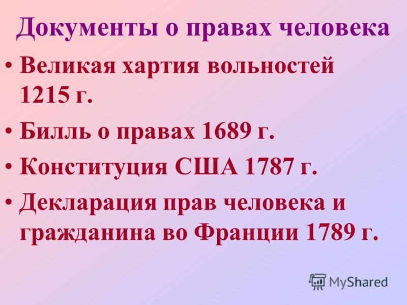 Документы о правах человека Великая хартия вольностей 1215 г. Билль о правах 1689 г. Конституция США 1787 г. Декларация прав человека и гражданина во Франции 1789 г.