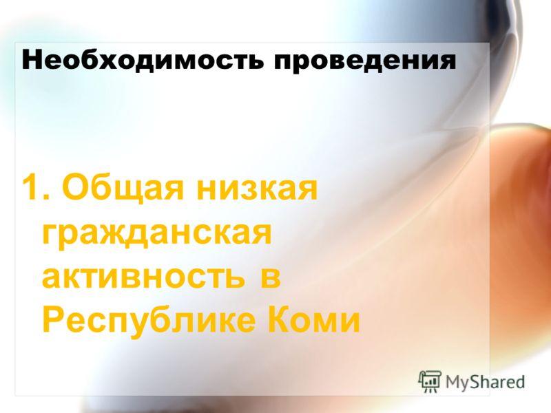 Необходимость проведения 1. Общая низкая гражданская активность в Республике Коми
