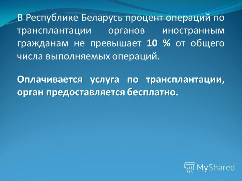 10 % В Республике Беларусь процент операций по трансплантации органов иностранным гражданам не превышает 10 % от общего числа выполняемых операций. Оплачивается услуга по трансплантации, орган предоставляется бесплатно.