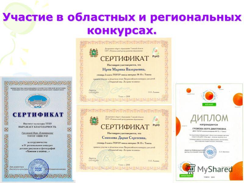 Участие в областных и региональных конкурсах.