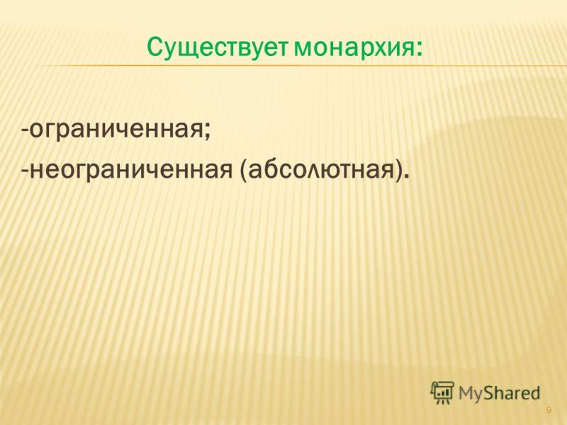 Существует монархия: -ограниченная; -неограниченная (абсолютная). 9