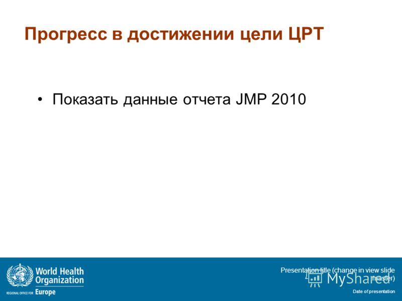 Presentation title (change in view slide master) Date of presentation Прогресс в достижении цели ЦРТ Показать данные отчета JMP 2010