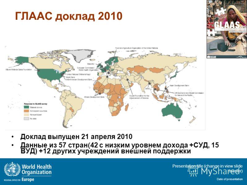 Presentation title (change in view slide master) Date of presentation ГЛААС доклад 2010 Доклад выпущен 21 апреля 2010 Данные из 57 стран ( 42 с низким уровнем дохода +СУД, 15 ВУД) +12 других учреждений внешней поддержки