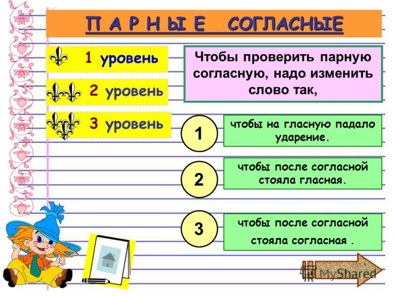 3 уровень 2 уровень П А Р Н Ы Е СОГЛАСНЫЕ 1 уровень Чтобы проверить парную согласную, надо изменить слово так, чтобы на гласную падало ударение. 1 2 3 чтобы после согласной стояла гласная. чтобы после согласной стояла согласная.