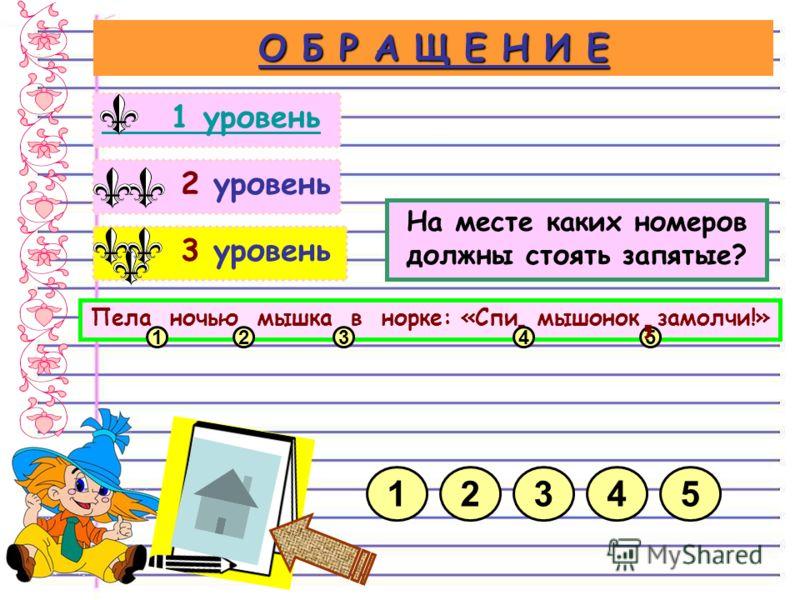 3 уровень 2 уровень О Б Р А Щ Е Н И Е 1 уровень На месте каких номеров должны стоять запятые? 21345 Пела ночью мышка в норке: «Спи мышонок замолчи!» 1235, 4,