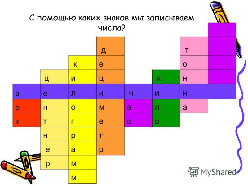 С помощью каких знаков мы записываем числа? д т ке о ци ц кн в е л и чи н е н о м а л а ктг е с о н р т еа р рм м