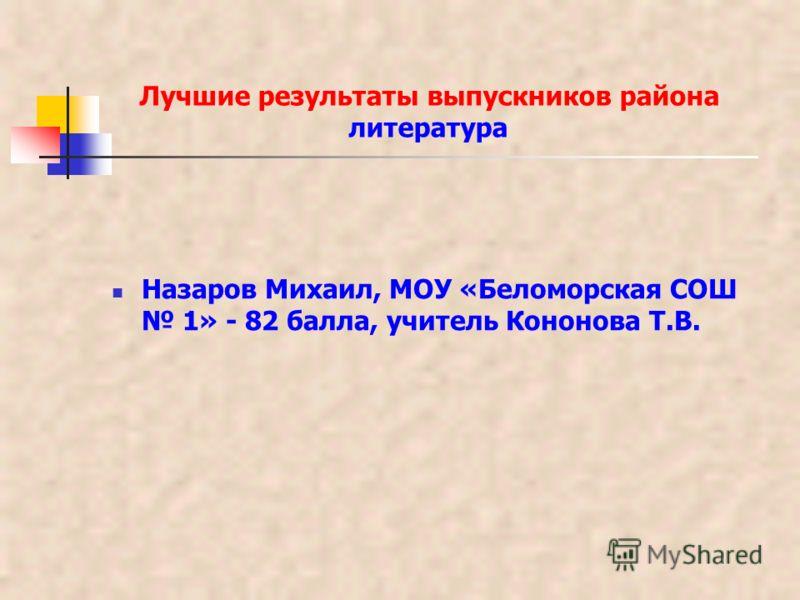 Лучшие результаты выпускников района литература Назаров Михаил, МОУ «Беломорская СОШ 1» - 82 балла, учитель Кононова Т.В.