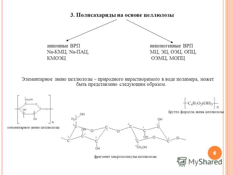 6 6 Элементарное звено целлюлозы – природного нерастворимого в воде полимера, может быть представлено следующим образом. 6 фрагмент макромолекулы целлюлозы элементарное звено целлюлозы брутто формула звена целлюлозы 6 3. Полисахариды на основе целлюл