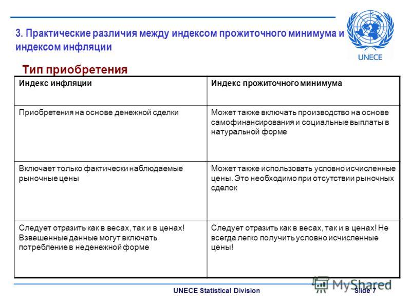 UNECE Statistical Division Slide 7 3. Практические различия между индексом прожиточного минимума и индексом инфляции Тип приобретения Индекс инфляцииИндекс прожиточного минимума Приобретения на основе денежной сделкиМожет также включать производство