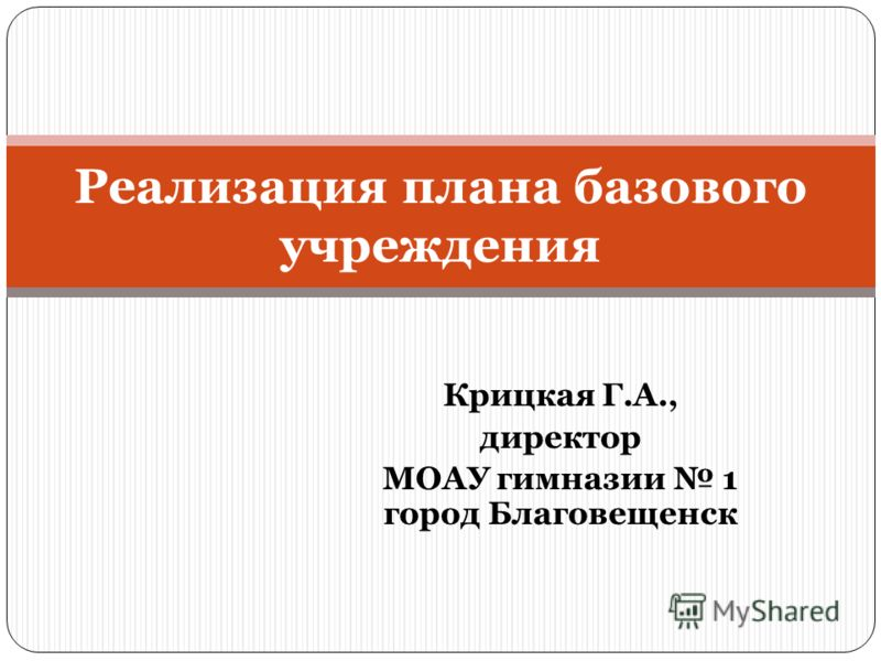 Крицкая Г.А., директор МОАУ гимназии 1 город Благовещенск Реализация плана базового учреждения