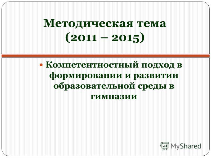 Методическая тема (2011 – 2015) Компетентностный подход в формировании и развитии образовательной среды в гимназии