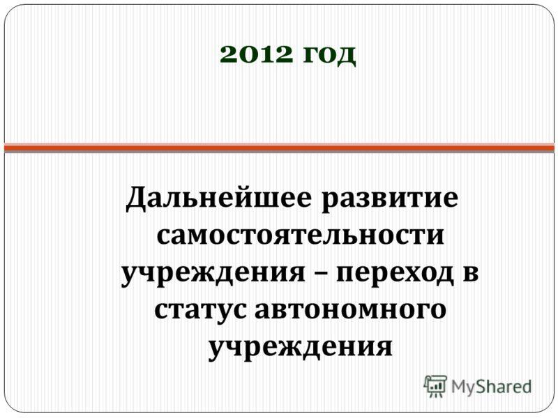 2012 год Дальнейшее развитие самостоятельности учреждения – переход в статус автономного учреждения