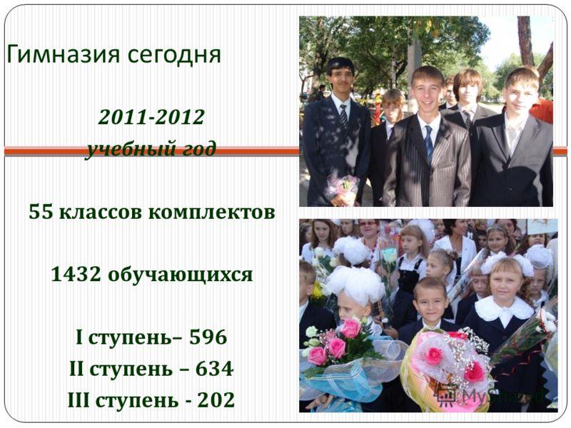 Гимназия сегодня 2011-2012 учебный год 55 классов комплектов 1432 обучающихся I ступень– 596 II ступень – 634 III ступень - 202
