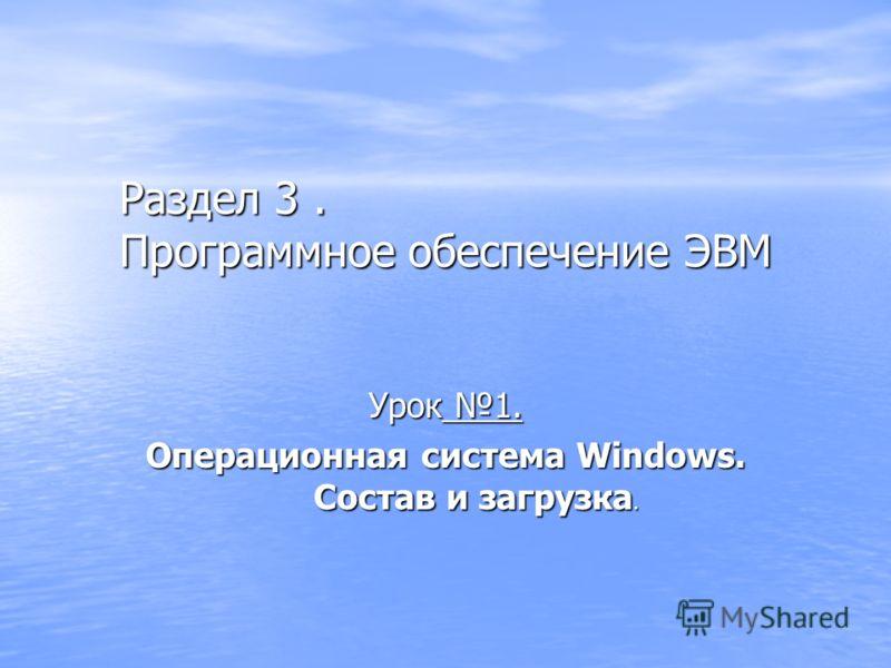 Раздел 3. Программное обеспечение ЭВМ Урок 1. Операционная система Windows. Состав и загрузка.