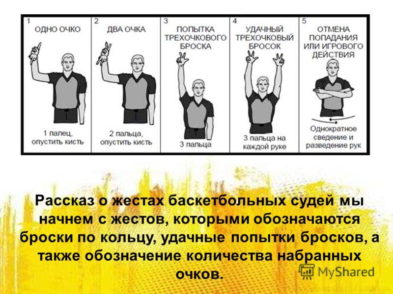 Рассказ о жестах баскетбольных судей мы начнем с жестов, которыми обозначаются броски по кольцу, удачные попытки бросков, а также обозначение количества набранных очков.