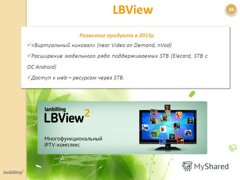 LBView 35 Развитие продукта в 2013г. «Виртуальный кинозал» (near Video on Demand, nVod) Расширение модельного ряда поддерживаемых STB (Elecard, STB c ОС Android) Доступ к web – ресурсам через STB.